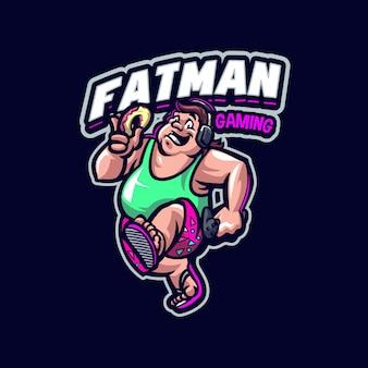 Dies ist das fatman maskottchen logo. dieses logo kann für sport-, streamer-, gaming- und esport-logos verwendet werden. Premium Vektoren