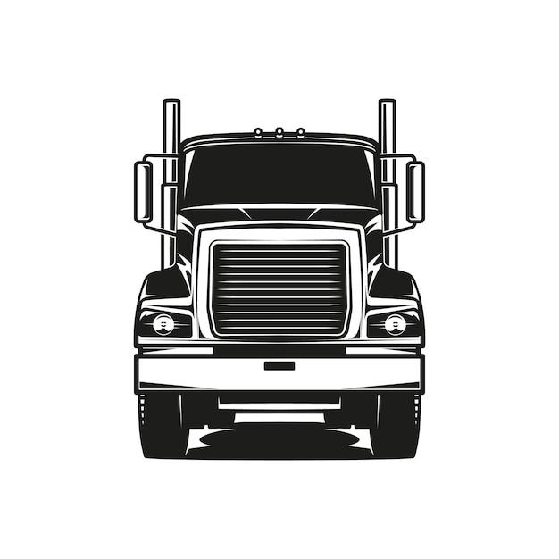 Diesel-lkw-logo-vektor-schwarz-weiß-darstellung vorderansicht