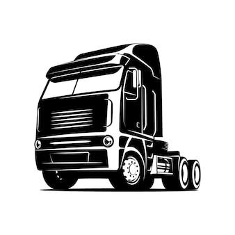 Diesel-lkw-vektor-schwarz-weiß-darstellung vorderansicht