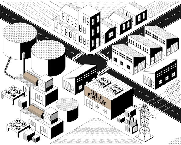 Dieselölenergie, dieselölkraftwerk mit isometrischer grafik in schwarz-weiß-farbe