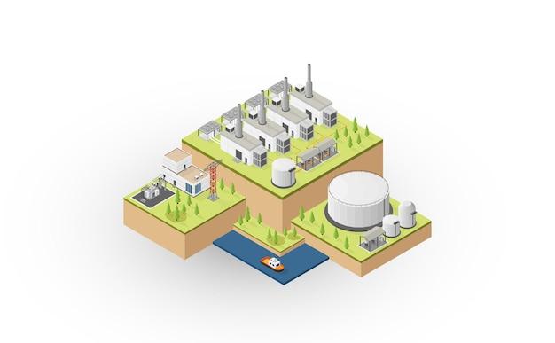 Dieselölenergie, dieselölkraftwerk mit isometrischer grafik