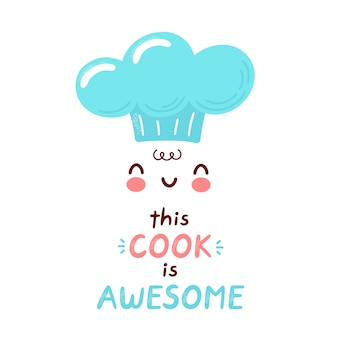 Dieser koch ist fantastisches druckdesign. zeichentrickfigur illustration. auf weißem hintergrund isoliert