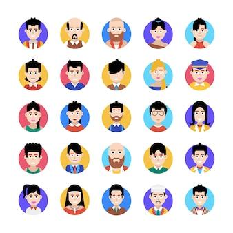 Dieses flache icons-paket ist ein erstaunliches bündel professioneller avatare und erleichtert ihnen den bearbeitbaren stil