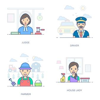 Dieses flache icons-paket ist ein erstaunliches bündel professioneller persönlichkeiten und erleichtert ihnen den bearbeitbaren stil