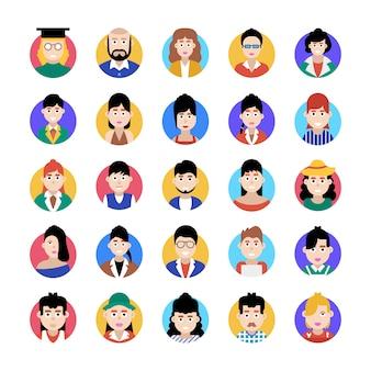 Dieses flache icons-paket ist eine erstaunliche sammlung professioneller avatare und erleichtert ihnen den bearbeitbaren stil