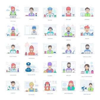 Dieses flache icons-paket ist eine erstaunliche sammlung professioneller leute und erleichtert ihnen den bearbeitbaren stil