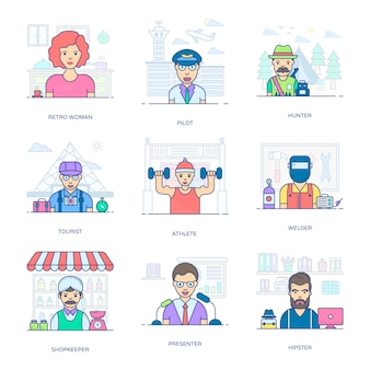 Dieses flache icons-paket ist eine erstaunliche sammlung professioneller people-icons und erleichtert ihnen den bearbeitbaren stil