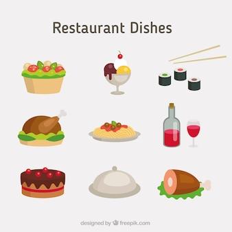 Diferent restaurant gerichte