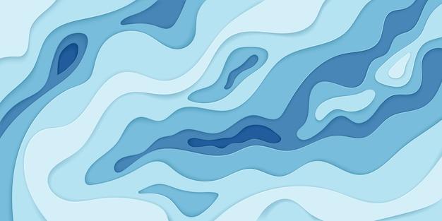 Diffuses ebenes element des abstrakten wellenpapiers für banner, plakat und broschüre. abstrakte 3d-papierschnittdekoration, die mit gekrümmten schichten strukturiert wird. hintergrund
