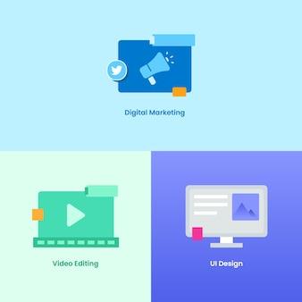Digital agency icon set seo marketing ui-design und videobearbeitung bearbeitung