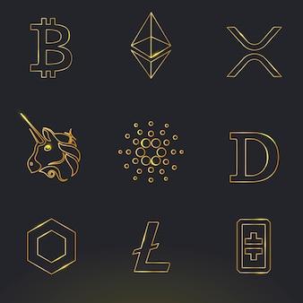 Digital asset icons vektor in der goldfintech-blockchain-konzeptsammlung