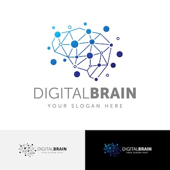 Digital brain connection logo template