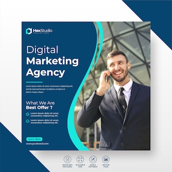 Digital business marketing sozialmedien post template