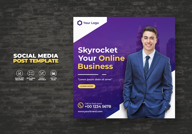 Digital business promotion und kostenlose marketing agentur expert corporate social media banner post template