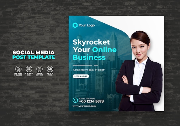 Digital business promotion und marketing agency expert corporate kostenlose sozialmedien-banner-postvorlage