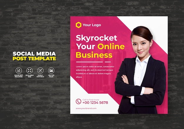 Digital business promotion und marketing agentur expert corporate social media banner kostenlose postvorlage