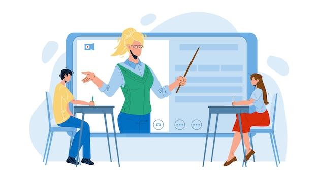 Digital classroom educational web lecture vector. jungen und mädchen sitzen am schreibtisch und hören lehrer internet online klassenzimmer auf tablet-bildschirm. charaktere lektion flache cartoon illustration