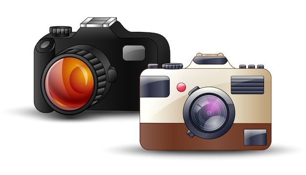 Digital-fotokamera auf weißem hintergrund