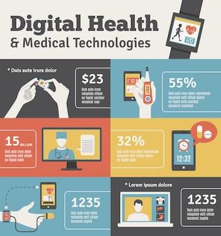 Digital-gesundheits-flache fahnen eingestellt