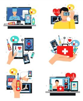 Digital-gesundheits-symbol-zusammensetzungs-satz