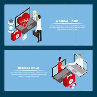 Digital-gesundheitskonzept-fahnenschablone