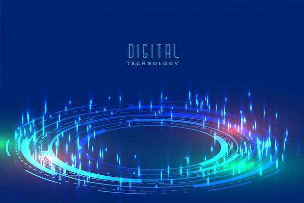 Digital glühender technologiehintergrund mit furutistischem muster