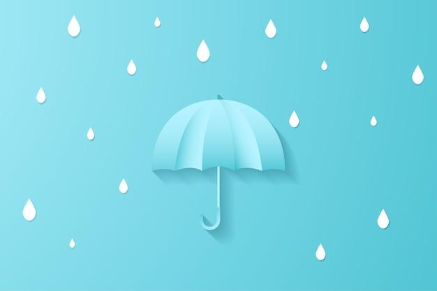 Digital-handwerkspapier-kunstregenschirm mit minimaler art des regentropfens