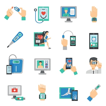Digital health icons flat set
