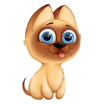 Digital-illustration mit dem siamesischen netten kätzchen der reizenden katze lokalisiert