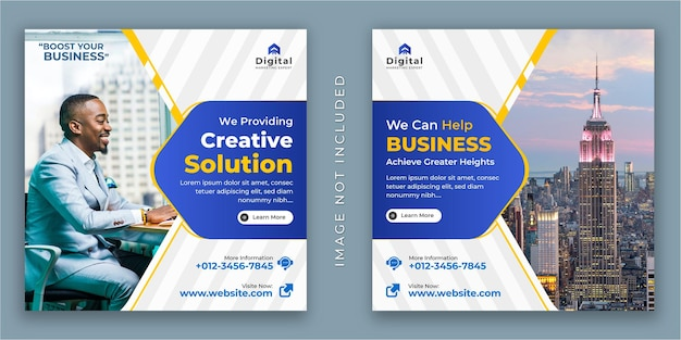 Digital marketing agentur und corporate business flyer, square social media instagram post oder web banner vorlage