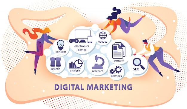 Digital marketing banner mit kleinen zufälligen menschen