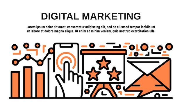 Digital marketing banner, umriss-stil