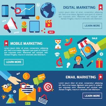 Digital-marketing-fahnen-set