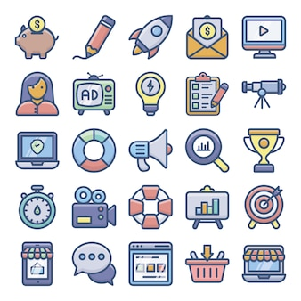 Digital marketing flache icons pack