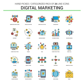 Digital-marketing-flache linie icon-set