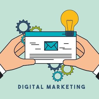 Digital-marketing-hände, die postkreativität halten