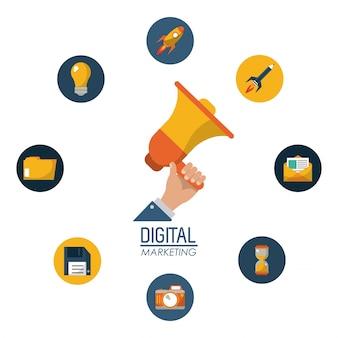 Digital-marketing-hand, die megaphonkampagnennetz hält