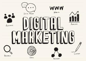 Digital-Marketing kritzelte auf einen Notizblock