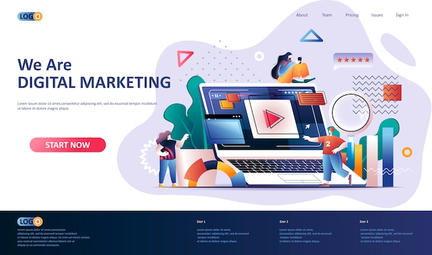 Digital marketing landing page vorlage illustration