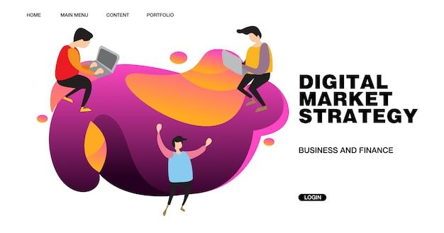 Digital-marketing-strategie-fahnen-illustration und design