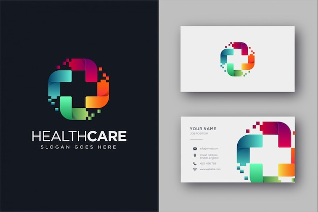 Digital medical logo und visitenkarte