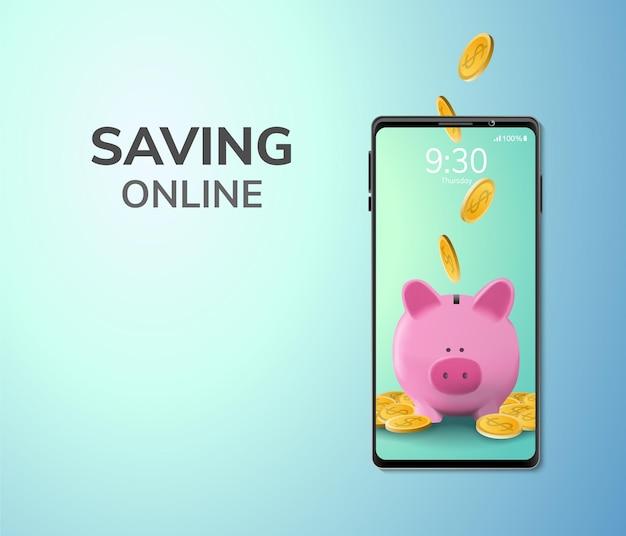 Digital money online-spar- oder einzahlungskonzept leerzeichen am telefon
