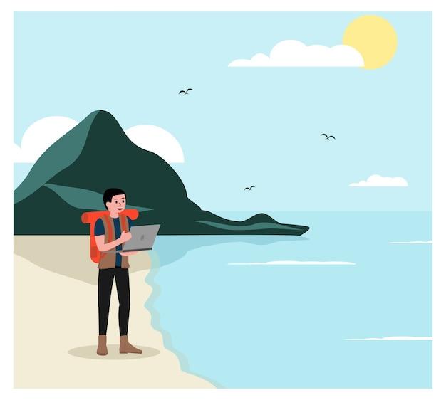 Digital nomad arbeiten überall Premium Vektoren