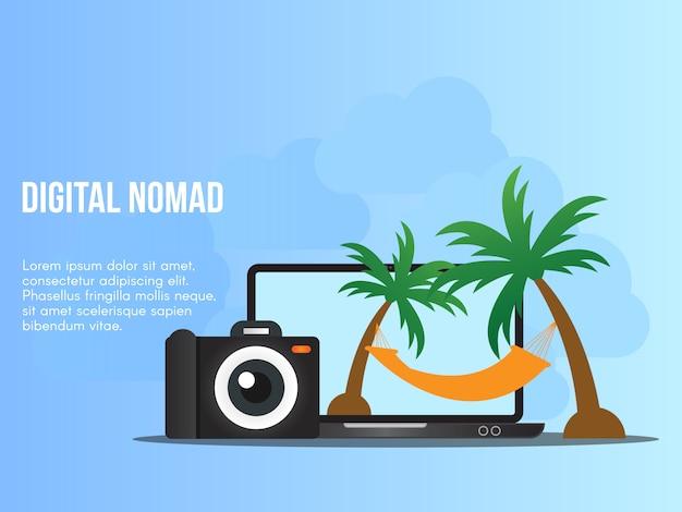 Digital-nomadenkonzeptillustrationsvektor-designschablone