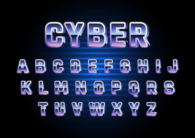 Digital retro futuristic alphabet set