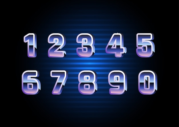 Digital retro futuristic number set