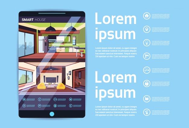Digital-tablet mit intelligenter haus-schnittstelle, moderne technologie des hausautomations-konzeptes