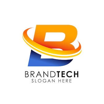Digital technology buchstabe b logo. web-symbol