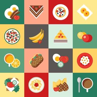 Digital-vektorfrühstücks-mahlzeit neues lebensmittel und getränke färben die einfache flache ikone, die mit kaffee eingestellt wird