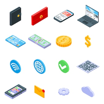 Digital wallet icons set